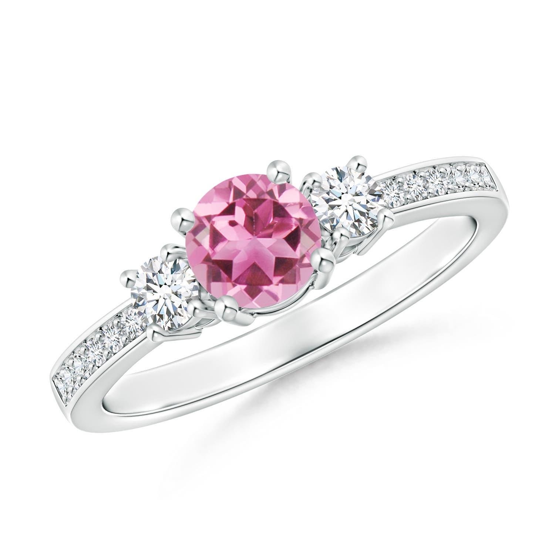 Classic Three Stone Pink Tourmaline and Diamond Ring - Angara.com