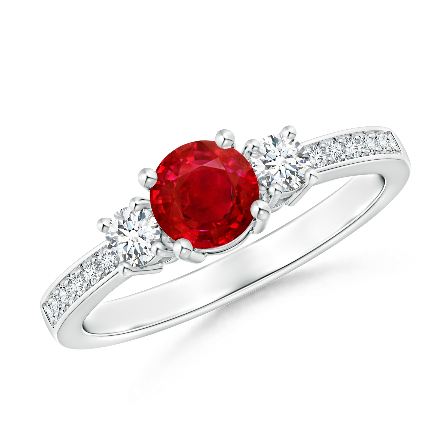Angara Oval Ruby and Diamond Three Stone Ring in 14K White Gold xtqmEInVhk