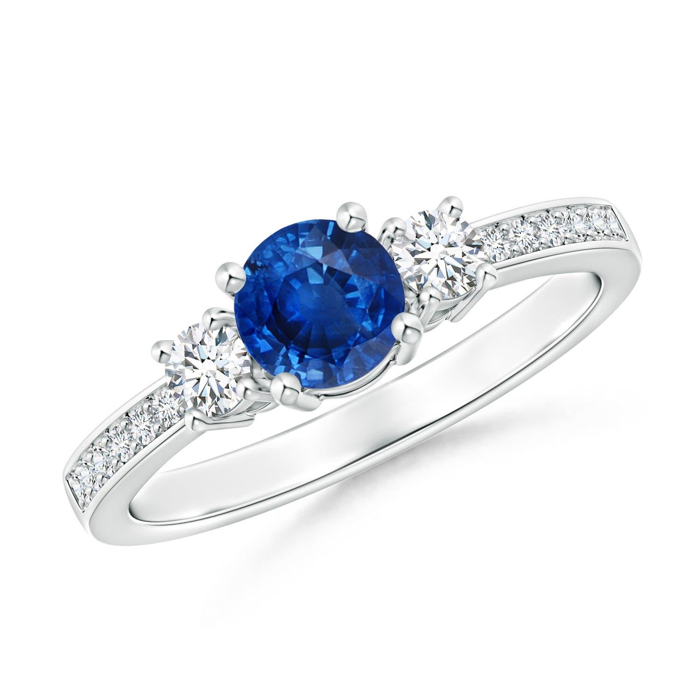 Classic Three Stone Blue Sapphire and Diamond Ring
