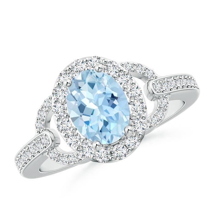 Vintage Inspired Oval Aquamarine Halo Ring with Diamond Accents - Angara.com