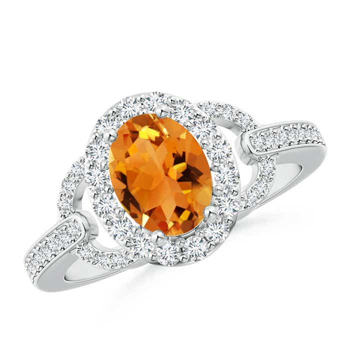 Vintage Inspired Oval Citrine Halo Ring with Diamond Accents - Angara.com