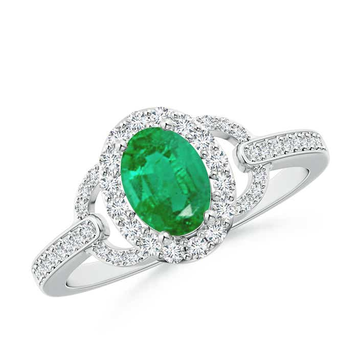 Angara Vintage Inspired Emerald and Diamond Halo Split Shank Ring White Gold