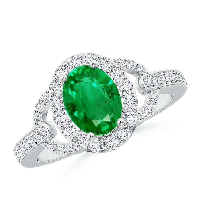 Angara Oval Emerald Halo Ring With Diamond Accents xU8cBCMxC