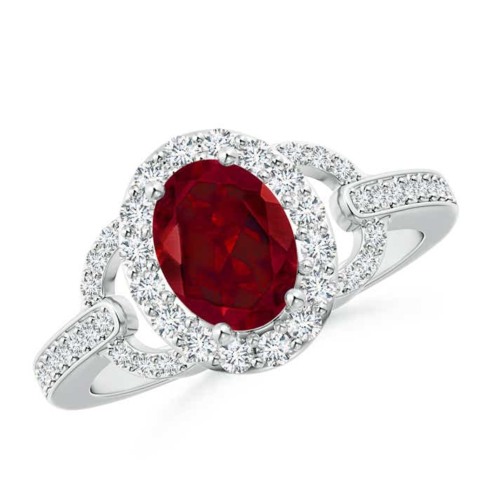 Vintage Inspired Oval Garnet Halo Ring with Diamond Accents - Angara.com