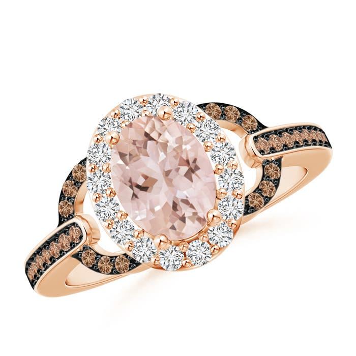 Angara Brown Diamond Double Halo Ring in Yellow Gold ZRaEk