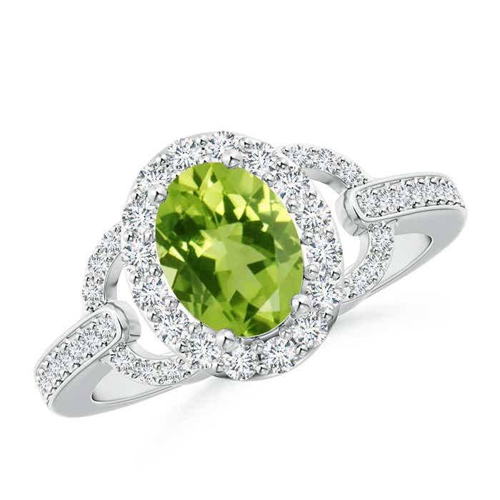 Vintage Inspired Oval Peridot Halo Ring with Diamond Accents - Angara.com