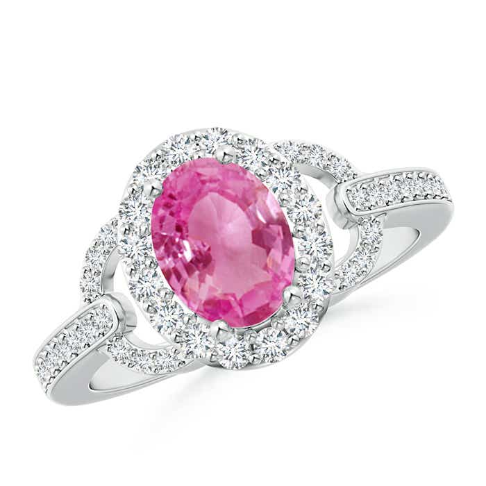 Vintage Inspired Oval Pink Sapphire Halo Ring with Diamond Accents - Angara.com