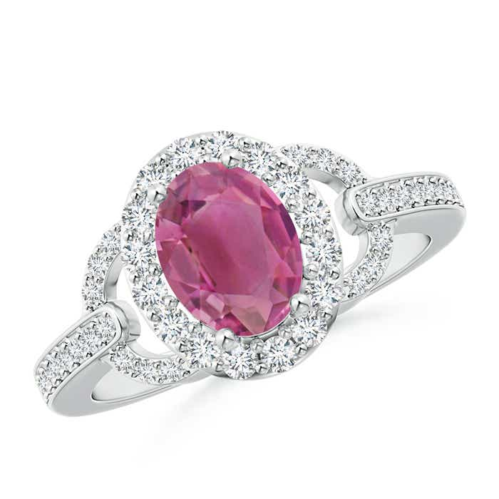 Vintage Inspired Oval Pink Tourmaline Halo Ring with Diamond Accents - Angara.com