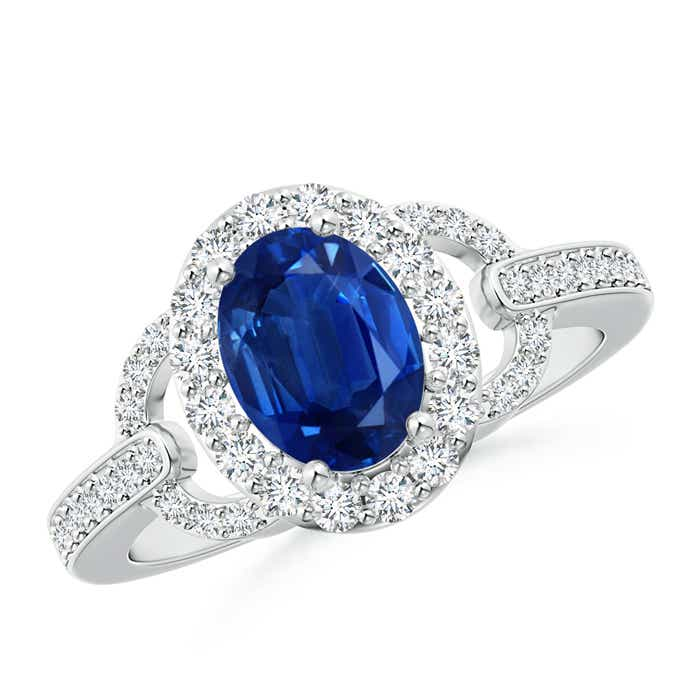 Angara Oval Blue Sapphire and Diamond Halo Engagement Ring in 14k Yellow Gold 2uMU7wd