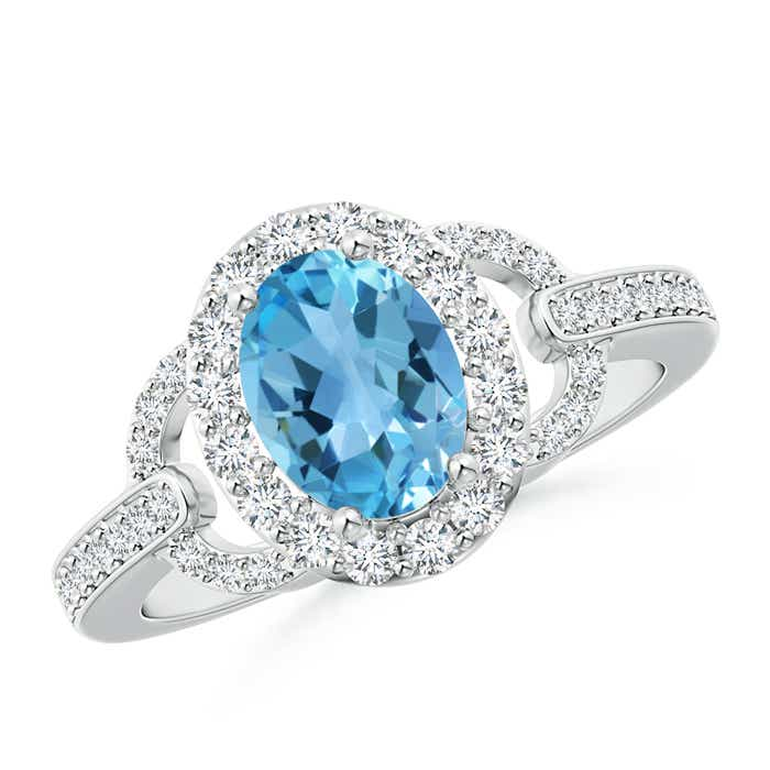 Angara Oval Solitaire Swiss Blue Topaz Vintage Ring in White Gold rwXtg0UW