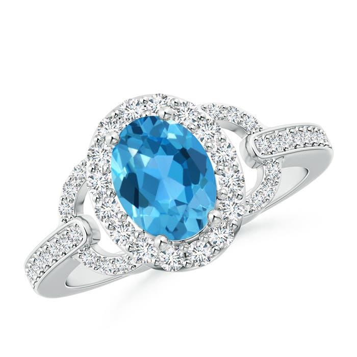 Vintage Inspired Oval Swiss Blue Topaz Halo Ring with Diamonds - Angara.com