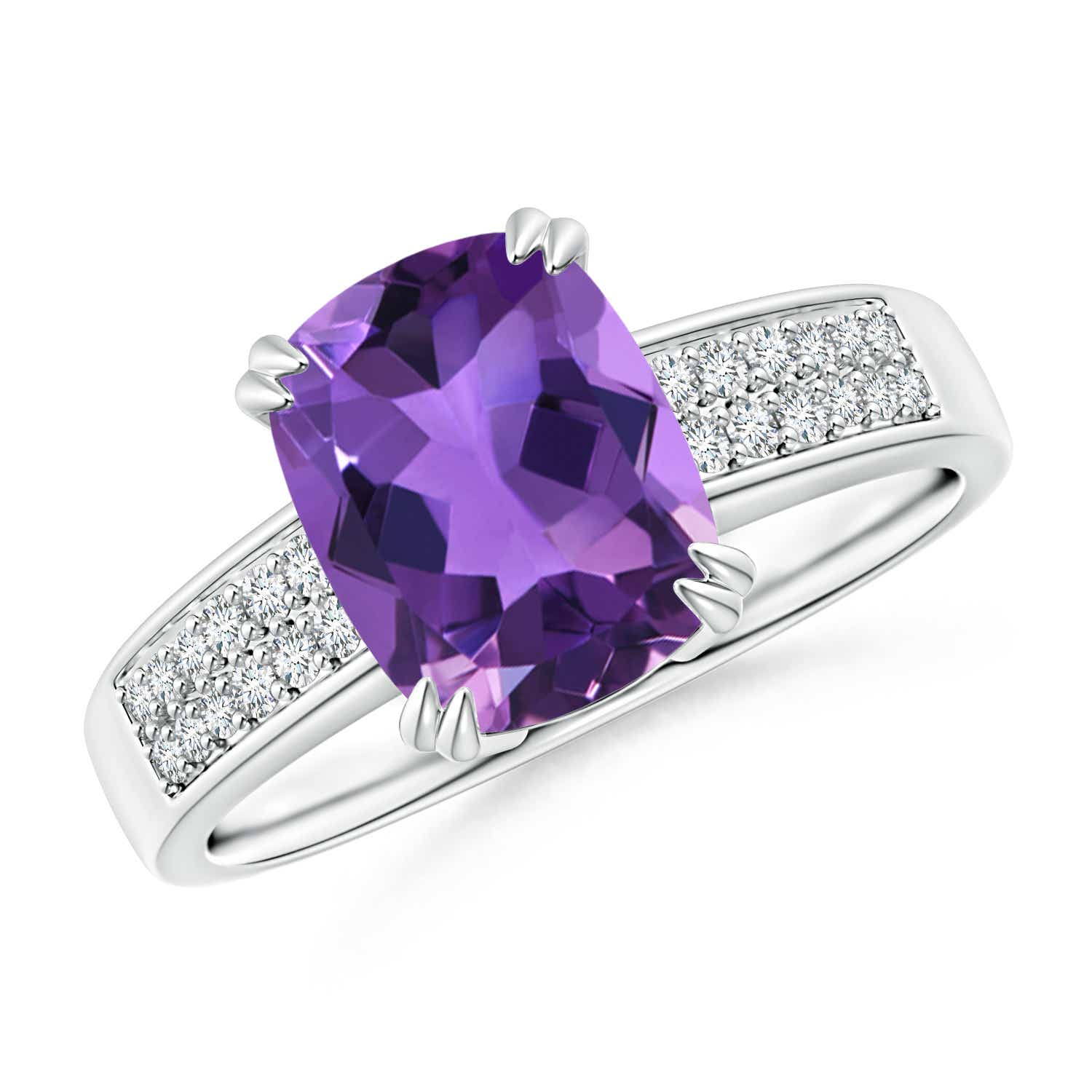 Double Prong-Set Cushion Amethyst Cocktail Ring with Diamond Accents - Angara.com