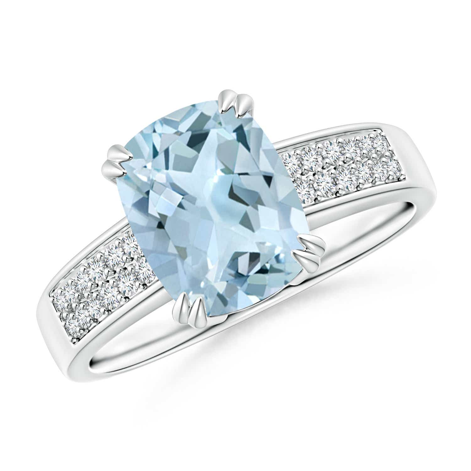 Angara Double Prong-Set Aquamarine Cocktail Ring in Rose Gold YnT1o