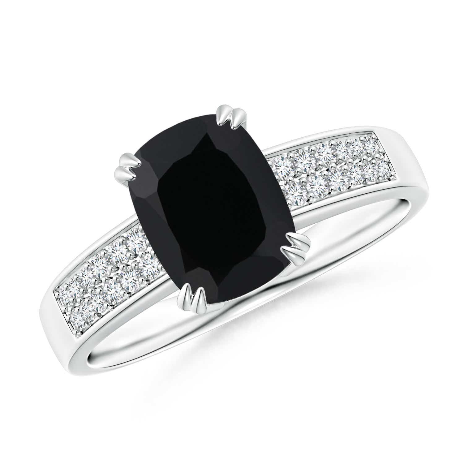 Solitaire Black yx Diamond Engagement Ring 14k White Gold Size 3