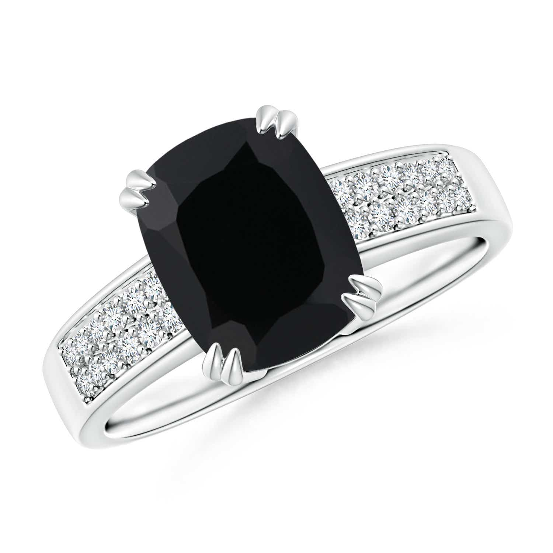 Cushion Cut Black Onyx Ring with Diamond Accents - Angara.com