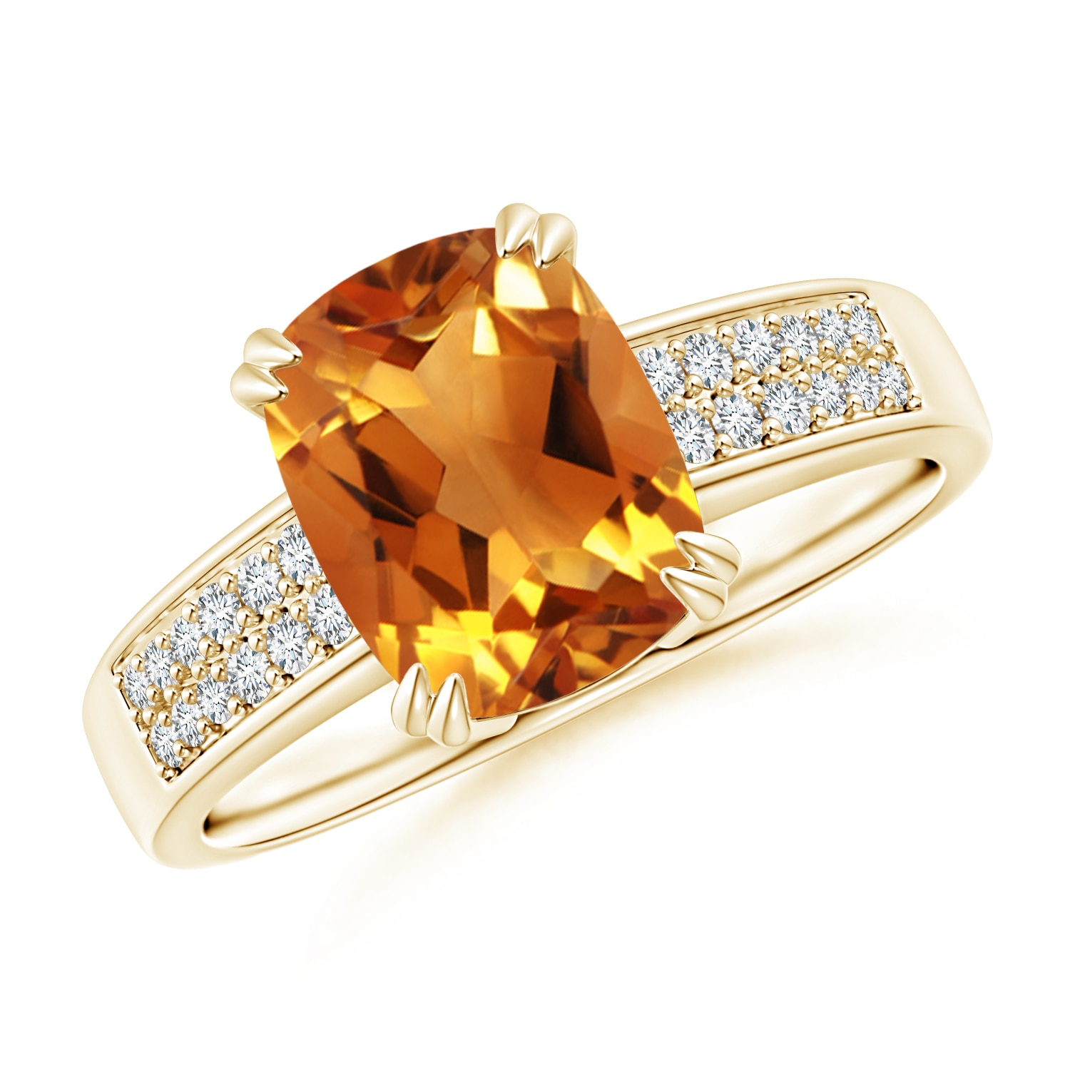 Double Prong-Set Cushion Citrine Cocktail Ring with Diamond Accents - Angara.com