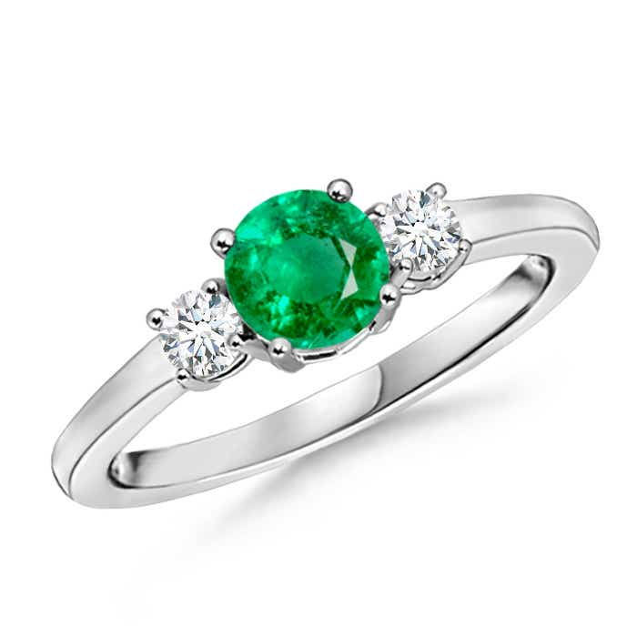 Angara Round Diamond Three Stone Ring with Emerald Side Stone in Yellow Gold zn1pORzPdw