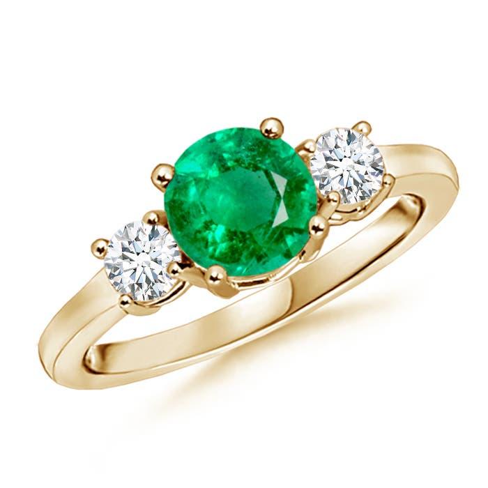 Classic Prong-Set Emerald and Diamond Three Stone Ring - Angara.com