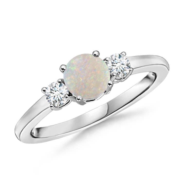 Angara Three Stone Opal and Diamond Ring in Platinum Gy9x9B