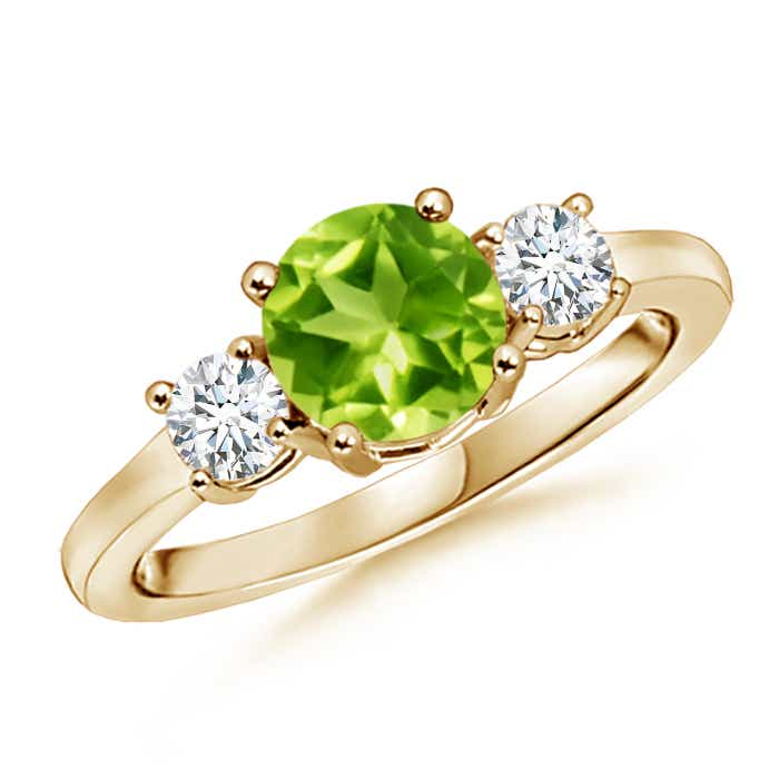 Angara Natural Peridot Solitaire Engagement Ring in Yellow Gold FnLLan