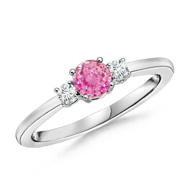 Angara Prong Set Round Pink Sapphire and Diamond 3-Stone Ring in Yellow Gold qO0Okg