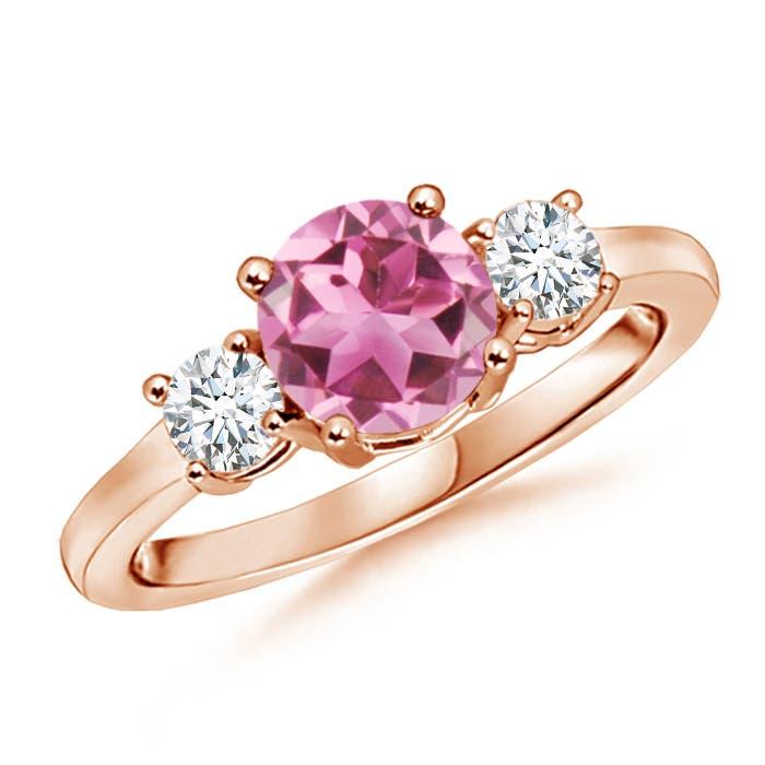 Classic Prong-Set Pink Tourmaline and Diamond Three Stone Ring - Angara.com