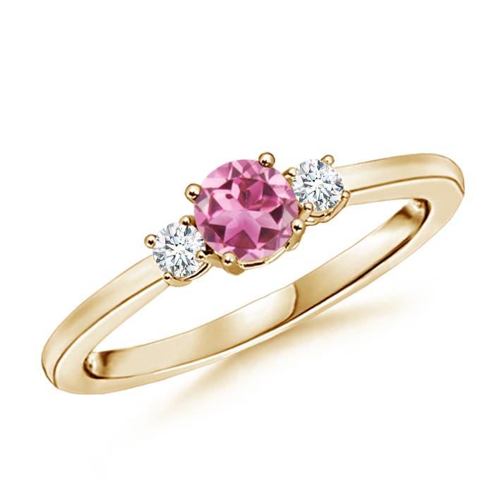 Angara Three Stone Pink Tourmaline and Diamond Ring in 14K Rose Gold VD4OxnhxK