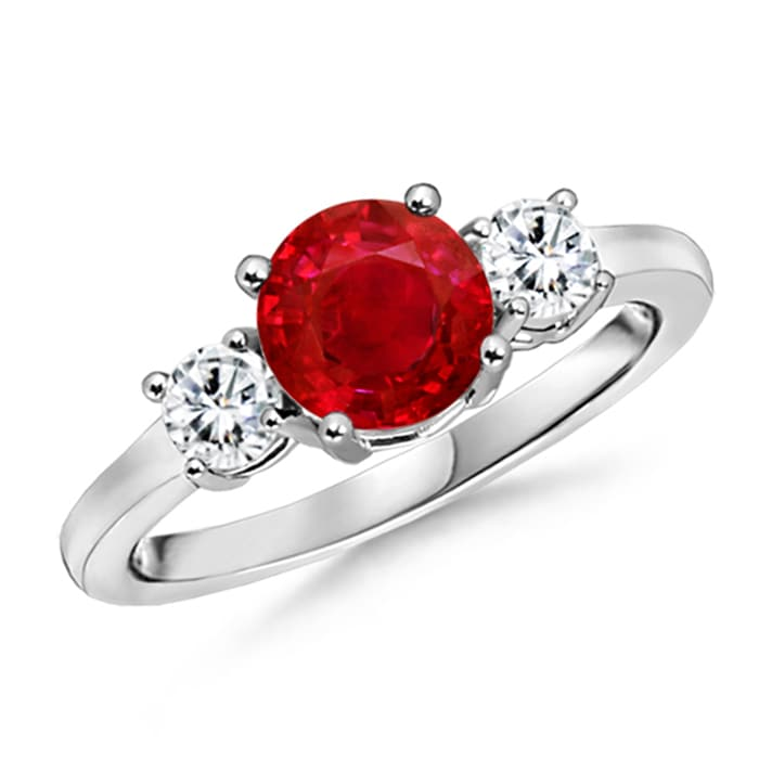 Angara Emerald-Cut Ruby and Diamond Three Stone Ring in Platinum