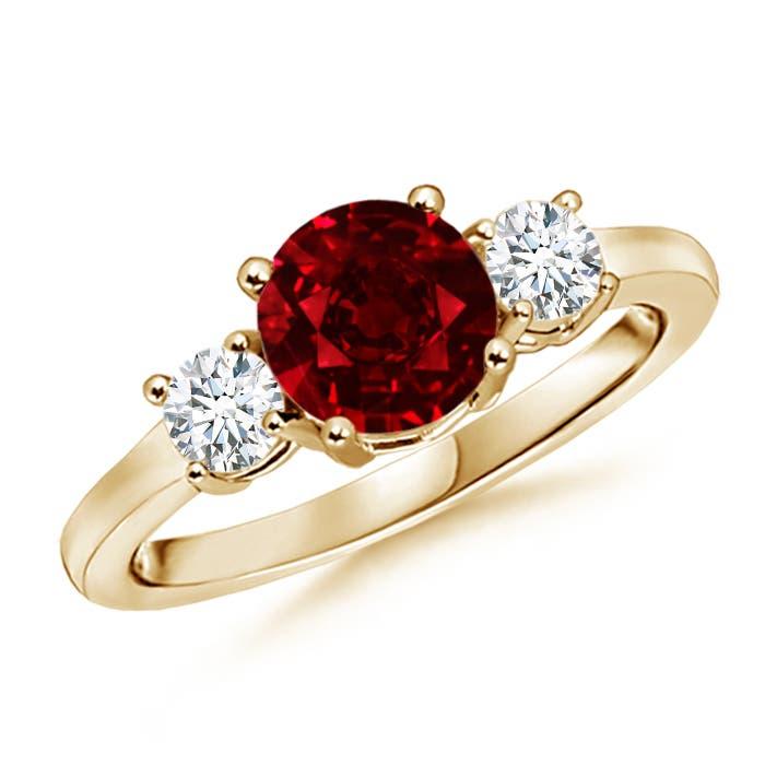 Ruby and Diamond Three Stone Ring (GIA Certified Ruby) - Angara.com
