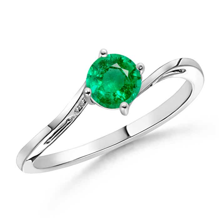 Angara Tapered Shank Prong-Set Round Emerald Solitaire Ring LxnWKYUu