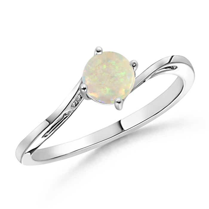 Classic Twist Shank Round Solitaire Opal Ring - Angara.com
