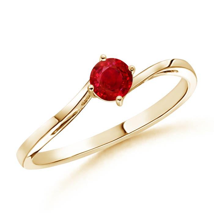 Angara Classic Solitaire Ruby Twist Ring in 14k Yellow Gold Zaviw
