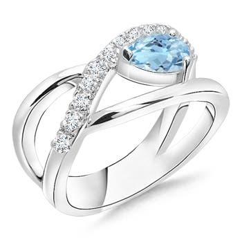Criss Cross Pear Shaped Aquamarine Ring with Diamond Accents - Angara.com