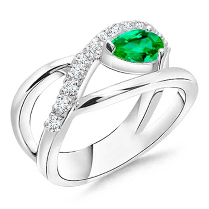 Criss Cross Pear Shaped Emerald Ring with Diamond Accents - Angara.com