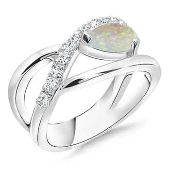 Criss Cross Pear Shaped Opal Ring with Diamond Accents - Angara.com