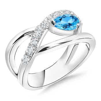 Pear Shaped Swiss Blue Topaz Criss Cross Ring with Diamonds - Angara.com