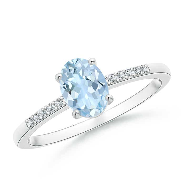 Prong-Set Oval Solitaire Aquamarine Ring With Diamond Accent - Angara.com