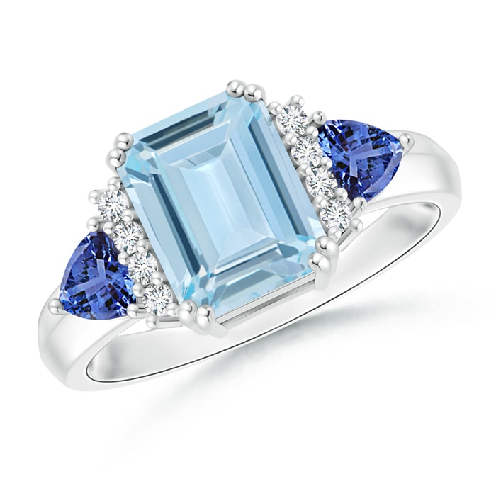 emerald cut aquamarine trillion tanzanite 3 ring