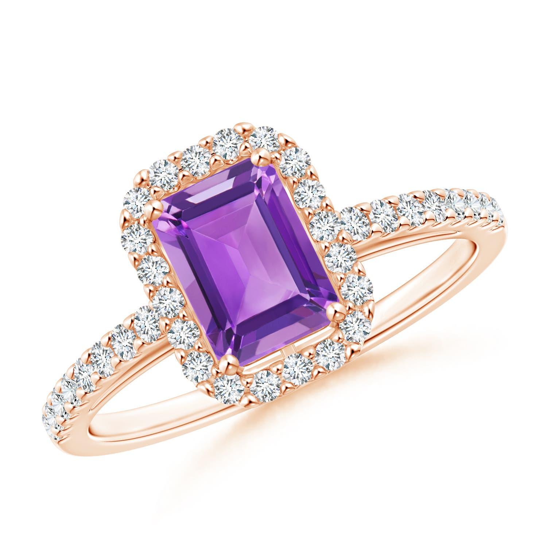 Angara Emerald-Cut Amethyst Engagement Ring in Yellow Gold kiuZb