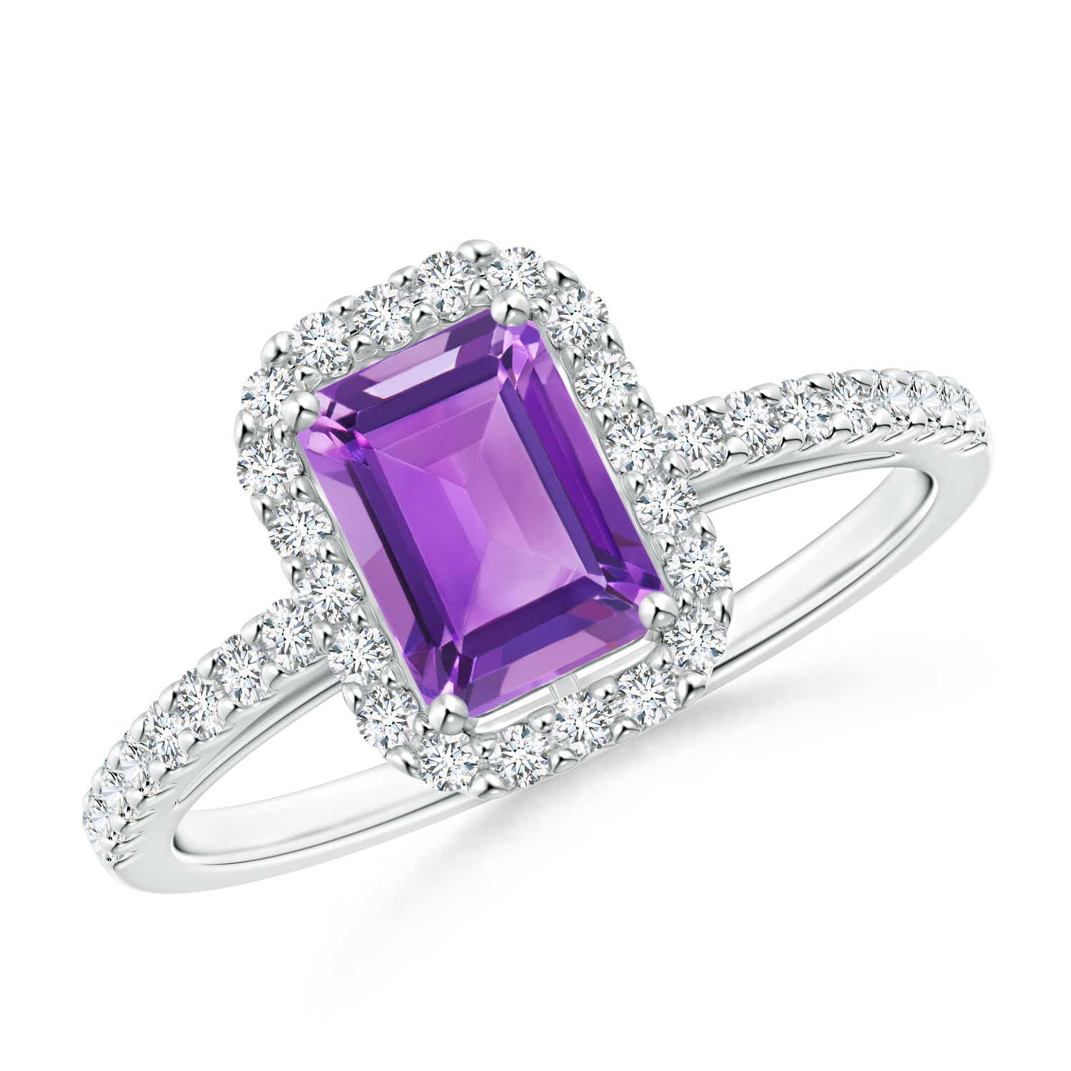 Angara Vintage Amethyst Engagement Ring in Platinum