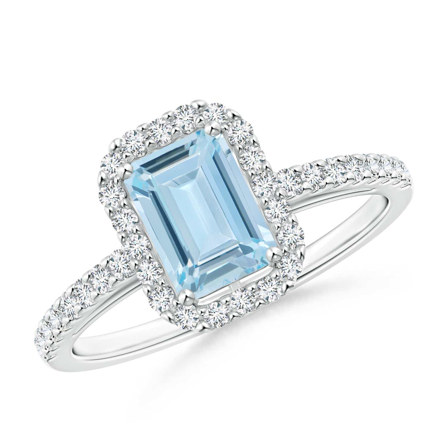 Angara Emerald-Cut Aquamarine Halo Engagement Ring White Gold Xyomy5