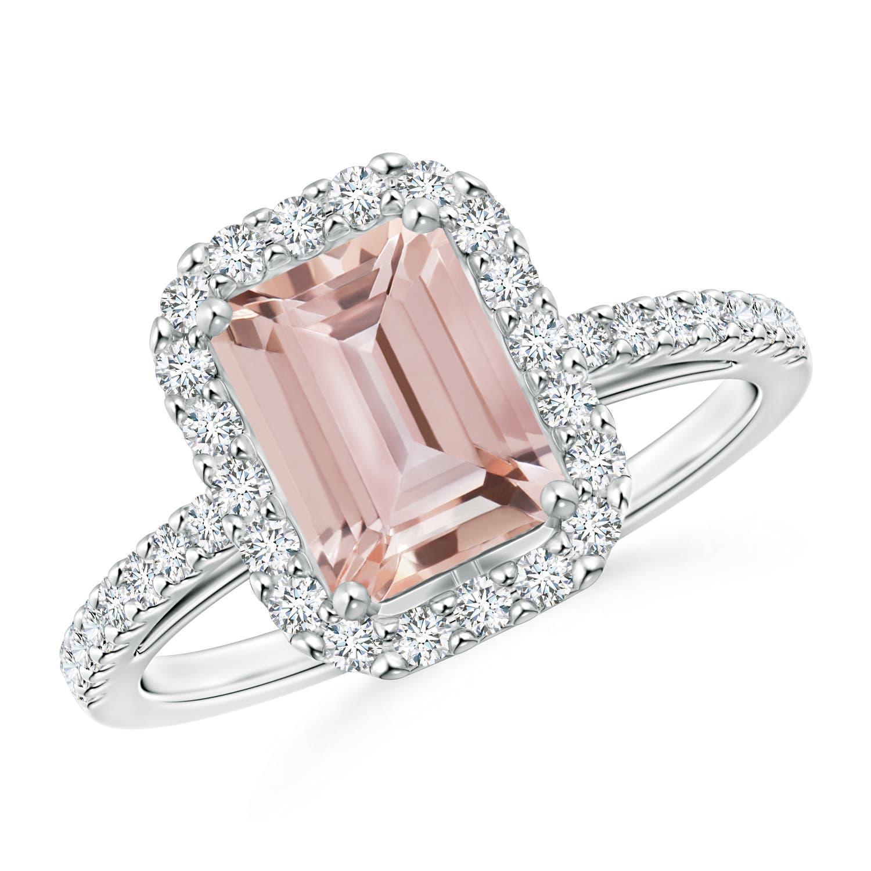 Angara Vintage Inspired Diamond Halo Cushion Morganite Ring A7VwFYYj4
