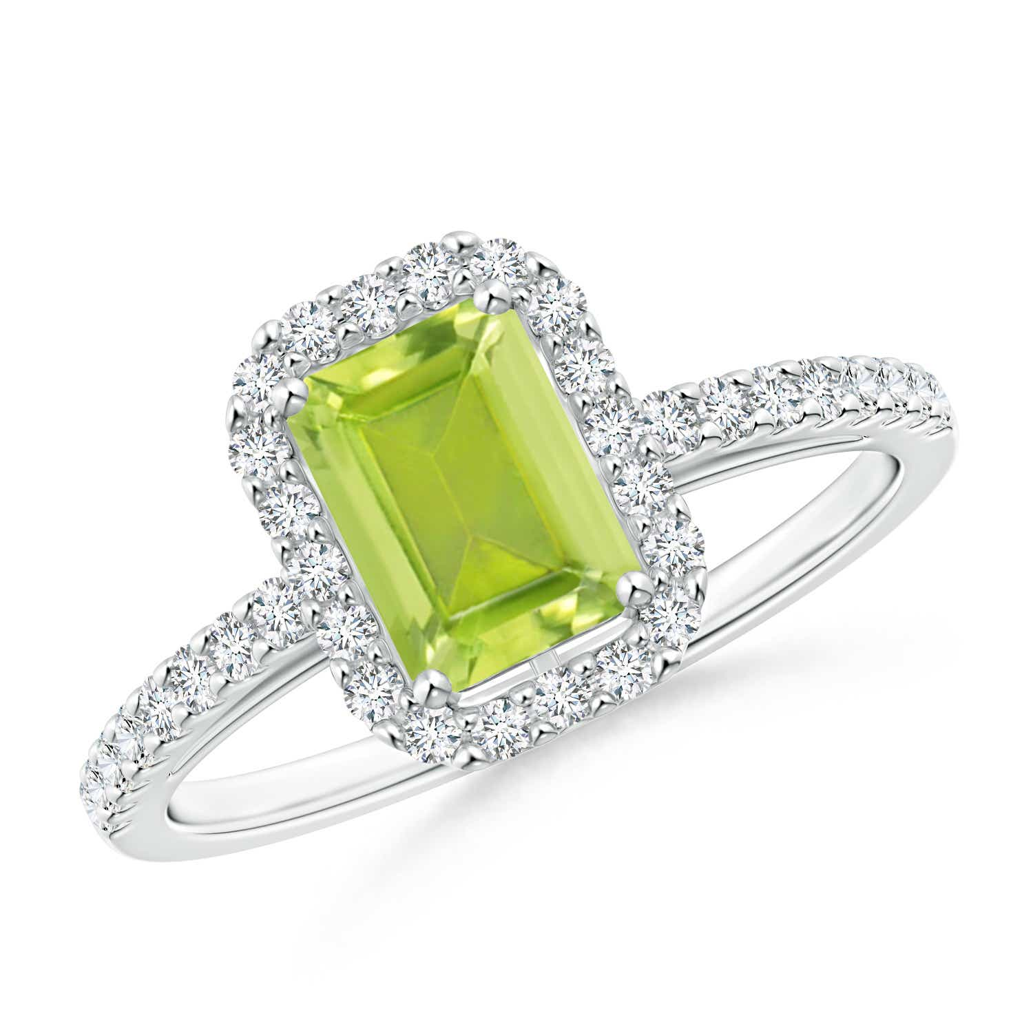 Angara Emerald-Cut Peridot Solitaire Ring with Diamond in White Gold NmIepc