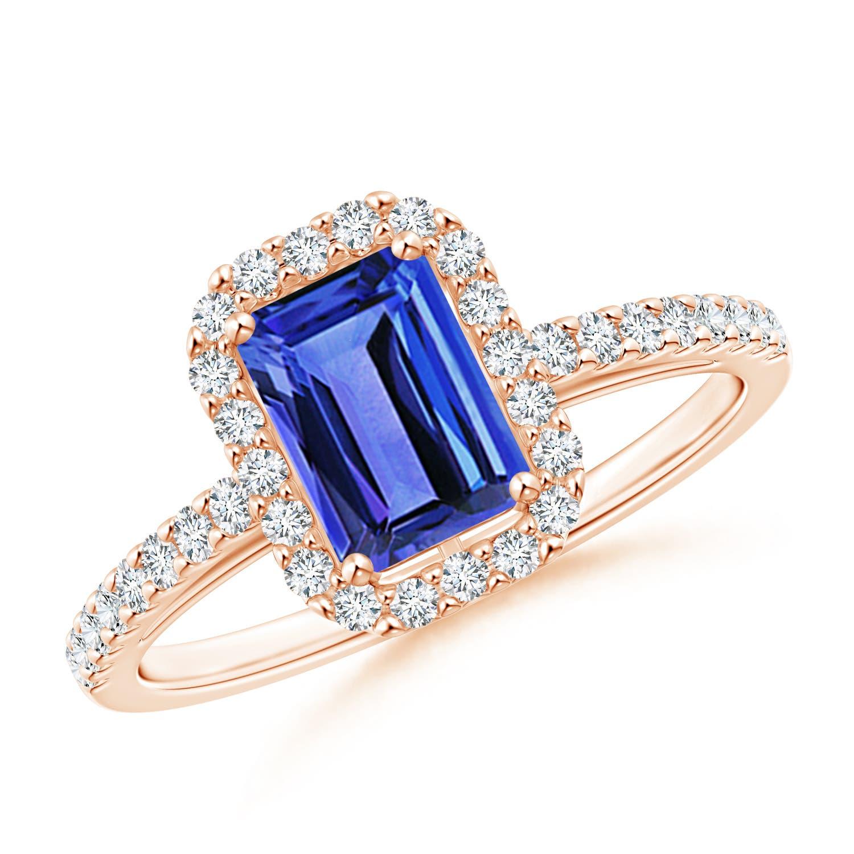 Diamond Halo Tanzanite: 1.35ct Emerald Cut Tanzanite Diamond Halo Ring 14K White