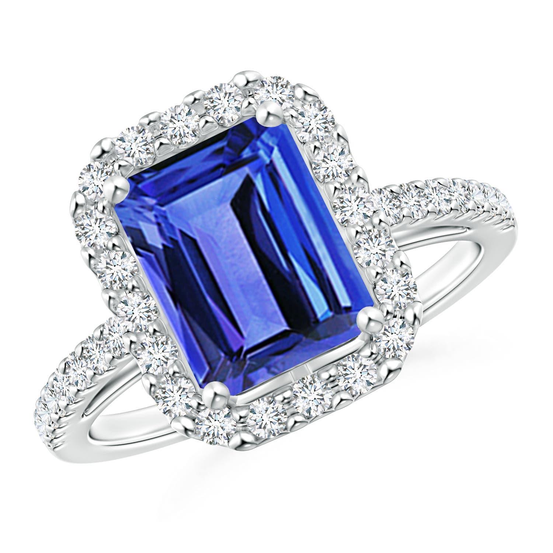 cc0e4395a264a Vintage Inspired Emerald-Cut Tanzanite Halo Ring