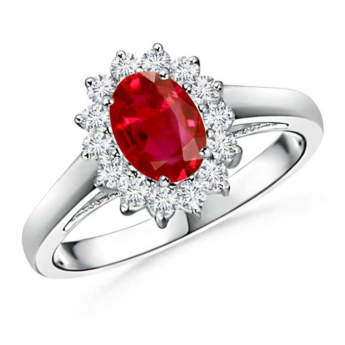 Angara Diamond Studded Twin Shank Pear Ruby Wedding Ring for Her in Platinum N7IajS4I