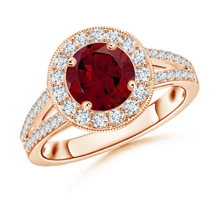 Angara Round Ruby and Diamond Halo Split Shank Ring in 14k Yellow Gold OE4o9m