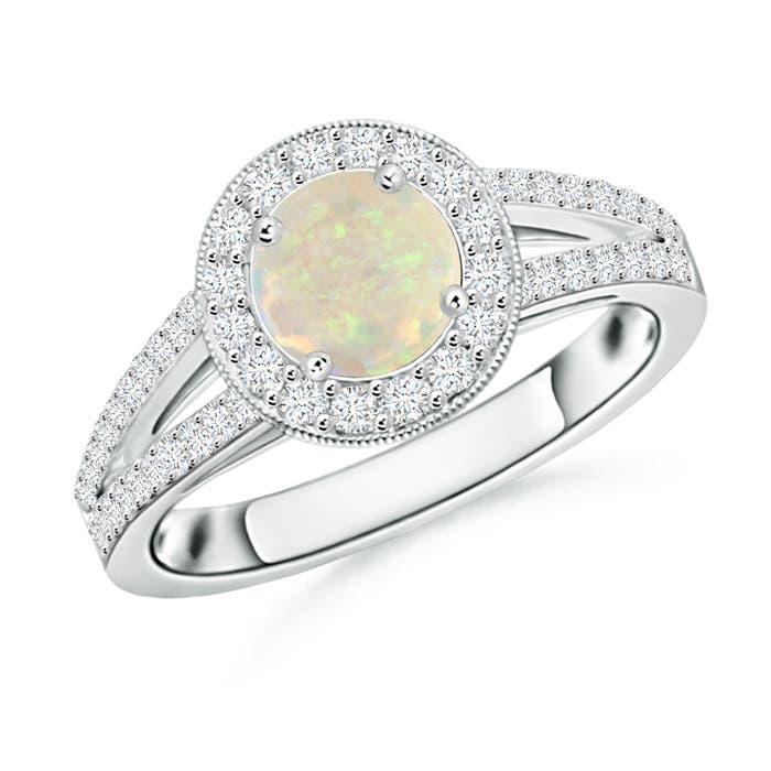 Round Opal Split Shank Ring with Diamond Halo - Angara.com