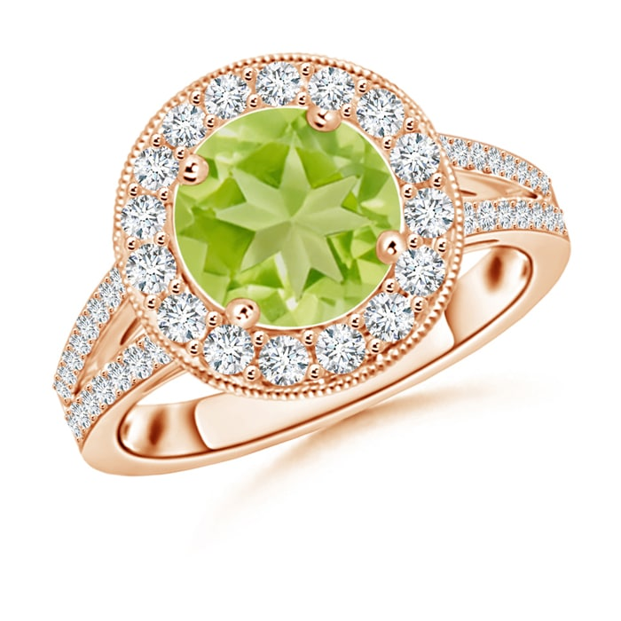 Round-Peridot-Split-Shank-Ring-with-Diamond-Halo-14K-Yellow-Gold