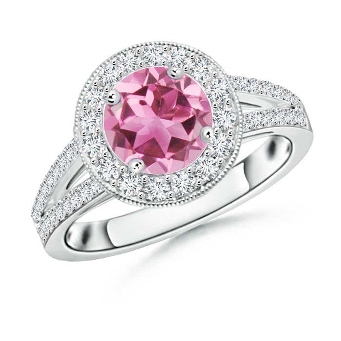 Round Pink Tourmaline Split Shank Ring with Diamond Halo - Angara.com